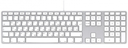 Клавиатура проводная Apple with Numeric Keypad MB110RU/B, Белый