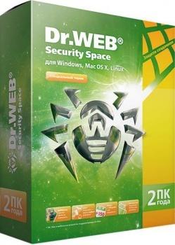 Программный продукт Dr.Web Security Space. Регистрационный ключ 2 ПК на 2 года BHW-B-24M-2-A3
