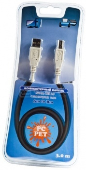 Кабель PC PET USB 2.0 A(m)-B(m) 3м, Серый НОТИК 110.000