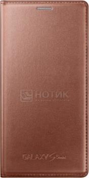 Чехол Samsung Flip Cover EF-FG800BFEGRU для Samsung Galaxy S5 mini G800, Кожа, Золотистый НОТИК 1500.000