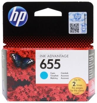 Картридж HP 655 для DeskJet IA 3525 4615 4625 5525 6525, Голубой, 600стр. CZ110AE