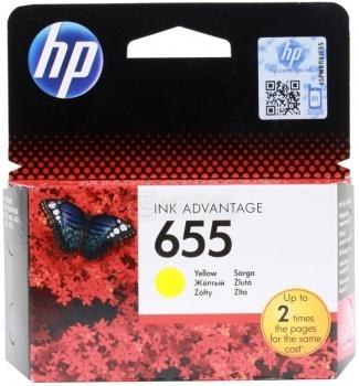 Картридж HP 655 для DeskJet IA 3525 4615 4625 5525 6525, Желтый, 600стр. CZ112AE