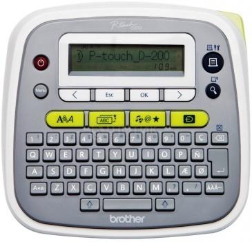 Принтер для наклеек Brother PT-D200VP переносной, от 3,5 до 12мм, до 20мм/сек,180т/д, однострочный, кейс+БП  Белый PTD200VPR1