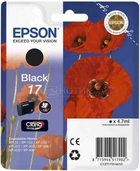 Картридж Epson 17 для Epson XP-33 103 203 207 303 306 403 406 130с Черный C13T17014A10
