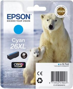 Картридж Epson 26XL для XP-600/700/800 700стр, Голубой C13T26324010