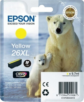 Картридж Epson 26XL для XP-600/700/800 700стр, Желтый C13T26344010