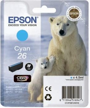 Картридж Epson 26 для XP-600/700/800 300стр, Голубой C13T26124010