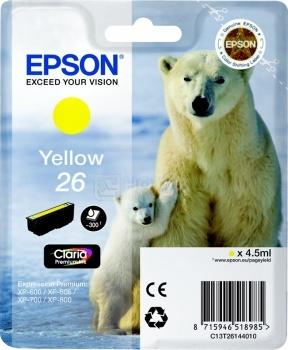Картридж Epson 26 для XP-600/700/800 300стр, Желтый C13T26144010