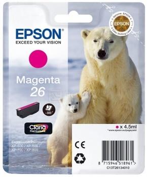 Картридж Epson 26 для XP-600/700/800 300стр, Пурпурный C13T26134010