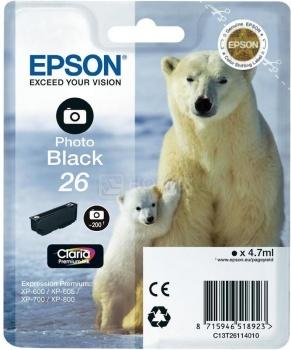 Картридж Epson 26 Photo для XP-600/700/800 200стр, Черный C13T26114010