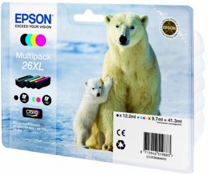 Набор картриджей Epson 26XL для XP-600/700/800, Разноцветный, C13T26364010