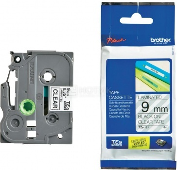 Лента для печати наклеек Brother TZe-121 ламинированная,9 мм, Черный текст на прозрачном фоне TZE121