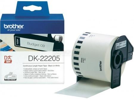 Лента для печати наклеек Brother DK22205 бумажная, 62мм, длина рулона 30,5м, Белый
