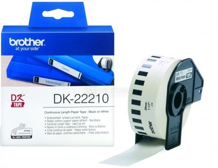 Лента для печати наклеек Brother DK22210 бумажная, 29мм, длина рулона 30,5м, Белый