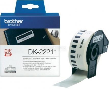 Лента для печати наклеек Brother DK22211 пленочная, 29мм, длина рулона 15,2м, Белый