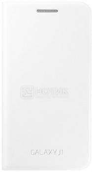 Чехол Samsung для Galaxy J1 Flip Cover, EF-FJ100BWEGRU, Искусственная Кожа, Black, Белый