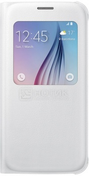 Чехол Samsung S View EF-CG920PWEGRU для Samsung Galaxy S6, Полиуретан/Поликарбонат, Белый