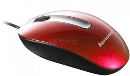 Мышь проводная Lenovo Optical Mouse M3803A, 1000dpi, Красный 888013577 от Нотик