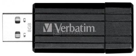Флешка Verbatim 8Gb PinStripe, Черный 49062