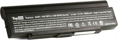 Аккумулятор TopON TOP-BPL2 11.1V 6600mAh для Sony Vaio PN: VGP-BPL2C VGP-BPS2A VGP-BPS2B VGP-BPS2C от Нотик