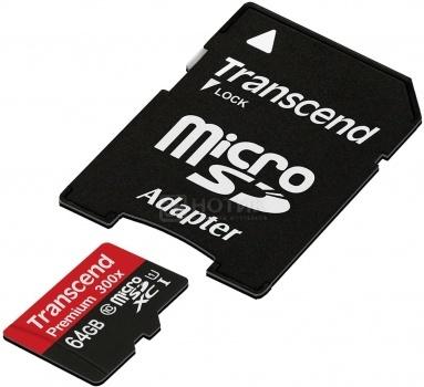 Карта памяти Transcend microSDXC 64Gb Class10 Transcend TS64GUSDU1   adapter, арт: 42685 - Transcend