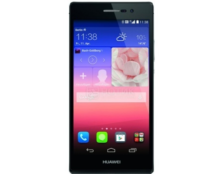Смартфон Huawei Ascend P7 Black (Android 4.4/Kirin 910T 1800MHz/5.0 (1920x1080)/2048Mb/16Gb/4G LTE 3G (EDGE, HSDPA, HSUPA)) [P7-L10 Black] liberty project чехол флип для huawei ascend p7 black