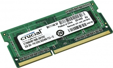 Модуль памяти Crucial SO-DIMM DDR3L 2048Mb pc3-12800 1600MHz CT25664BF160B(J)