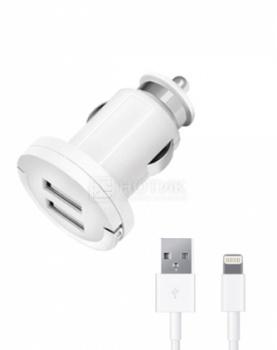 Фотография товара автомобильное зарядное устройство Deppa Ultra 11256, MFI для Apple с разъемом Lightning (8-pin), 2xUSB, 3.4А, Белый (43476)