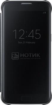 все цены на  Чехол (клип-кейс) Samsung Clear View Cover для Galaxy S7, Поликарбонат, Black, Черный,  EF-ZG930CBEGRU  онлайн