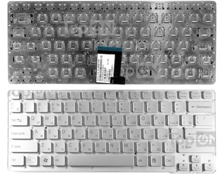 Клавиатура для ноутбука Sony Vaio VPC-CA Series, без рамки, без подсветки, TopON TOP-82748 СеребристыйTopON<br>Клавиатура для ноутбука Sony Vaio VPC-CA Series, без рамки, без подсветки, TopON TOP-82748 Серебристый<br>