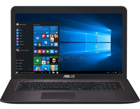 Ноутбук Asus X756UA (17.3 LED/ Core i5 6200U 2300MHz/ 6144Mb/ HDD 1000Gb/ Intel HD Graphics 520 64Mb) MS Windows 10 Home (64-bit) [90NB0A01-M00410]