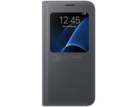 Чехол-книжка Samsung S-View Cover для Samsung Galaxy S7, Поликарбонат, Black, Черный, EF-CG930PBEGRU