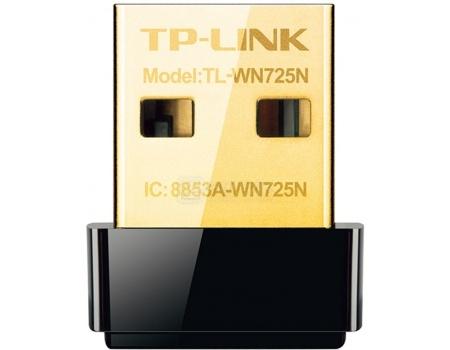 Адаптер Wi-Fi TP-Link TL-WN725N, USB, 802.11b/g/n до 150 Мбит/с, Черный wi fi роутер tp link tl wr841n tl wr841n