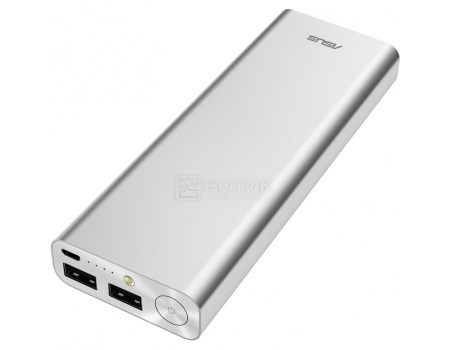 Аккумулятор Asus ZenPower Ultra 20100 мАч, microUSB 5.1V/2.4А, 2xUSB, 12.1V/2.4А, Серебристый 90AC00M0-BBT020