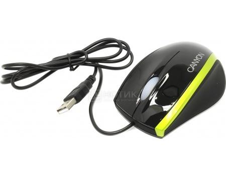 Фотография товара мышь проводная Canyon CNR-MSO01, 800dpi, USB, Черный/Зеленый CNR-MSO01NG (47425)