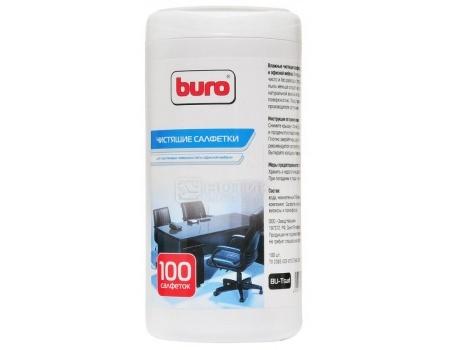 Влажные салфетки Buro для пластиковых поверхностей и офисной мебели, Туба 100шт, Buro BU-Tsurl