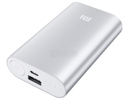 Аккумулятор Xiaomi Mi Power Bank, 2.1A, USB/microUSB, 10000mAh, Серебристый NDY-02-AN