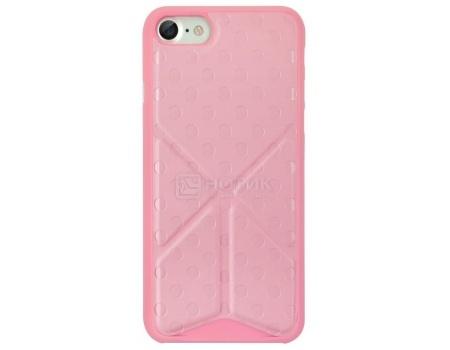 Чехол-накладка + подставка для iPhone 7 Ozaki O!coat 0.3 + Totem Versatile OC777PK, Пластик/полиуретан, Розовый