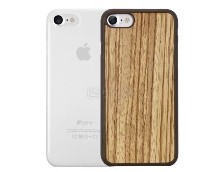 Набор из двух чехлов Ozaki Jelly и Ozaki Wood для iPhone 7 OC721ZC, Пластик/Дерево, Прозрачный/Бежевый