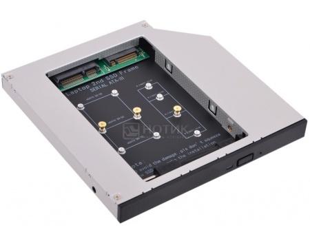 Переходник Optibay Espada M2MS1295 для установки в ноутбук SSD-накопителя mSATA/M.2 вместо DVD-привода (9,5/12,7мм) переходник espada eac325 1s для жестких дисков sata и ssd 2 5 мет черн