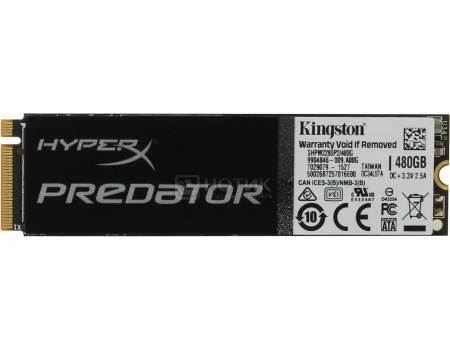 Внутренний SSD-накопитель Kingston HyperX Predator 480GB, 910/1100Mbs, PCI-E/M.2, MLC, Черный SHPM2280P2/480G от Нотик