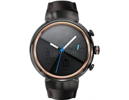 Смарт-часы ASUS ZenWatch 3 WI503Q Gunmetal, Черный металлик (кожаный ремешек) WI503Q-1LDBR0008 90NZ0061-M00150 asus zenwatch 3 wi503q silicon