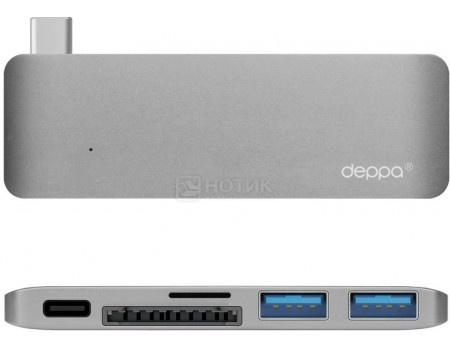 Фотография товара адаптер USB Type-C для Macbook, Deppa 72217, 5  в 1, 1xUSB 3.1 Type-C, 2xUSB.3.0, Кардридер - microSDHC/SDHC, Серый (49053)