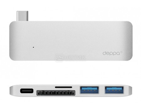 Адаптер-переходник USB Type-C для Macbook, Deppa 72218, 5  в 1, 1xUSB 3.1 Type-C, 2xUSB.3.0, Кардридер - microSDHC/SDHC, Серебристый