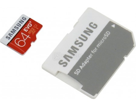 Карта памяти Samsung microSDXC 64GB EVO Plus Class 10 UHS-I   SD адаптер MB-MC64DA/RU, арт: 49562 - Samsung