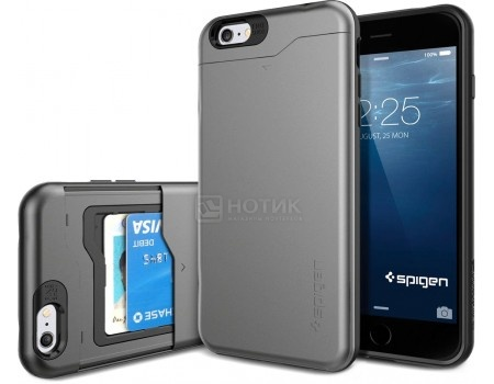 Чехол-накладка Spigen SGP для iPhone 6/6s Plus Slim Armor CS Case SGP10910, Поликарбонат/Термополиуретан, Gunmetal, Серый