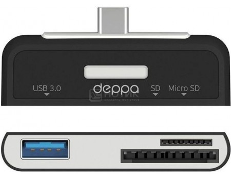 OTG адаптер Deppa, USB 3.0 , картридер: SD, microSD OTG кабель 73117, Черный, арт: 51019 - Deppa