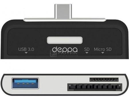 Фотография товара oTG адаптер Deppa, USB 3.0 , картридер: SD, microSD OTG кабель 73117, Черный (51019)