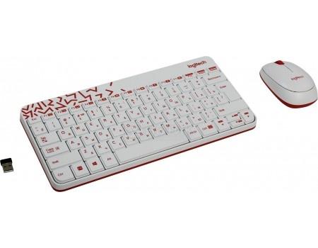Комплект беспроводной клавиатура+мышь Logitech Wireless Desktop MK240 Nano White 920-008212, Белый/Красный клавиатура мышь logitech mk240 usb белый 920 005791
