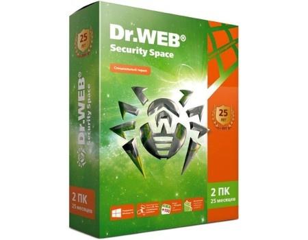 Программный продукт Dr.Web Security Space. Регистрационный ключ 2 ПК на 25 месяцев AHW-B-25M-2-A2
